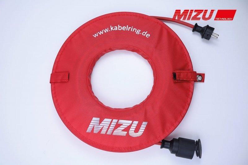 MIZU Aufrollhilfe / Kabelring inkl. 15 m Kabel in rot