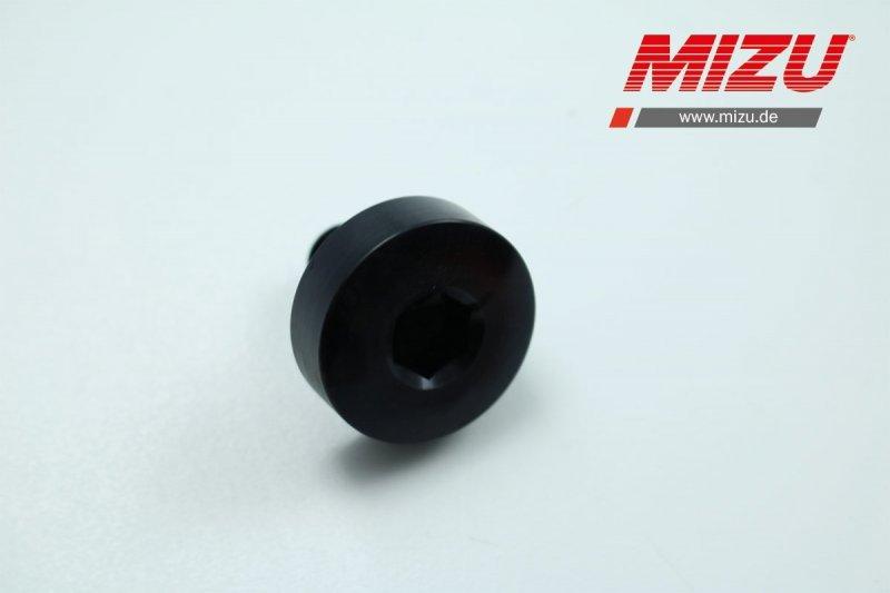 MIZU Pro Race Verschlussschraube für Motorblock  schwarz eloxiert